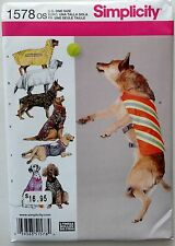 Simplicity Sewing Pattern 1578 Large Dog Coat Clothes New