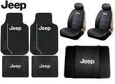 9 Pc Jeep High Back Seat Covers Front / Rear Floor Mats & Cargo Mat Protector