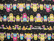 Japanese Kawaii Matryoshka Doll Dot Dots Black Fabric Half Yard