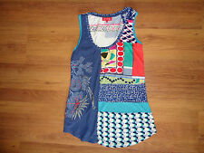 RENE DERHY MULTICOLORED STRETCH JERSEY EMBROIDERED TANK TOP-S,8-UK