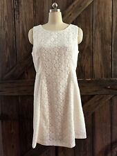 Talbots White Lace Overlay Dress Size 14 PT Lined Cotton Blend