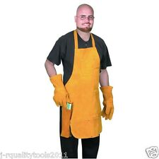 LEATHER WORK TOOL SHOP APRON BIB SMOCK WELDING WELDER PROTECTOR GLOVES COMBO KIT