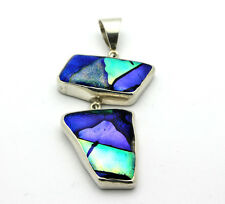 Sterling Silver .925 Unique Modern Chunky Large Dichroic Glass Charm 39.1g #5666