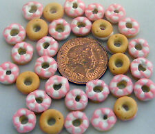 1;12 Scale 7 Pink & White Iced Doughnuts Dolls House Miniatures Bakery PL120