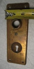 Antique Vintage Brass Door Knob Keyhole Backplate Cover Plate Hardware Salvage