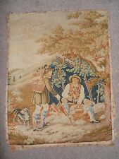 Beautiful antique hand-stitched completed tapestry 2 men hill walking with dog