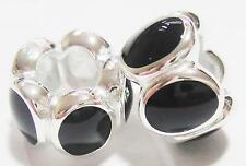 *New* PAIR 925 Sterling Silver and black oval charm Beads - stylish