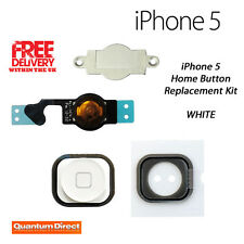 **NEW** Complete Replacement Home Button Repair Kit For iPhone 5 **WHITE**