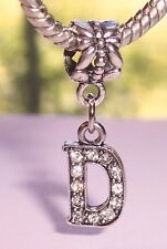 Letter D Rhinestone Alphabet Initial Dangle Bead for European Charm Bracelets