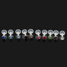 Mixed 16G 10x Acrylic CZ Gem Labret Stud Monroe Bar Lip Ring Stud Piercing Punk