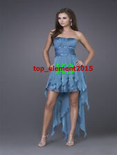UK Size 8 Chiffon Bridesmaid Dresses Hi-Lo Wedding Prom Party Gown Evening Dress