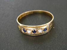 ANTIQUE VICTORIAN 15CT GOLD SAPPHIRE AND SEED PEARL RING! RING FROM 1893 or 1918