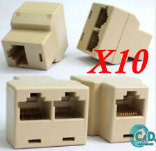 10x RJ45 Ethernet LAN Network Y Splitter 2 Way Adapter 3 Ports Coupler Split 1/2