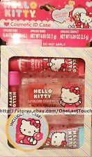Sanrio HELLO KITTY 5pc Cosmetic ID Case Set/Lot x2 Squeezy Tube+Lip Gloss+Wand