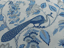 Schumacher Curtain Fabric 'Campagne' 3.5 METRES Bleu & Gris - Country Chic