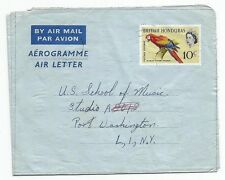 British Honduras 10c Bird Scarlet Macaw aerogramme used 1954 to USA