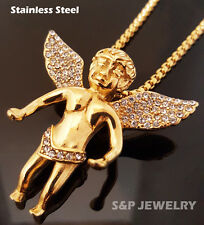 """Stainless Steel Gold flying baby angel Pendant & 24"""" Round Box Chain Necklace"""