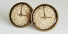 Old Timer Earrings Steampunk Clock Bronze Studs Jewellery Time Vintage Style NEW