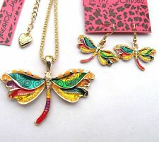 Betsey Johnson Colorful enamel  Pretty dragonfly Necklace earring set#058T
