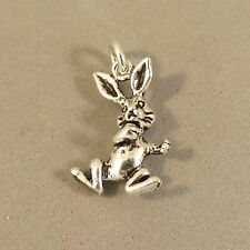 .925 Sterling Silver 3-D DANCING RABBIT CHARM NEW Easter Bunny Pendant 925 AN83