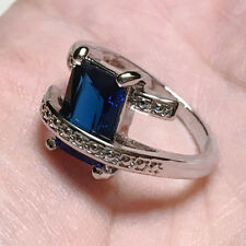 NEW Women's 925 Silver Plated Big Crystal Ring Sz.7/8/9 LF