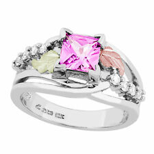 Landstroms Black Hills Gold on Silver Lab Created Pink Sapphire Ring