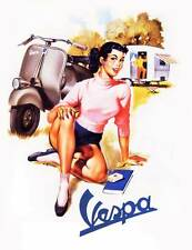 VESPA Vintage Pinup Girl QUALITY Canvas Art Print A4 Retro Scooter Poster C