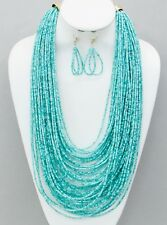 Multi Layers Multi Mint Glass Seed Bead Necklace Earring Set