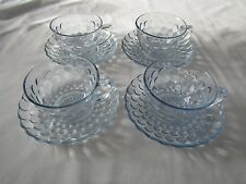Set of 4 Vintage Anchor Hocking Blue Bubble Glass Tea Cups & Saucers