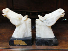 Pair Alabaster Horse Head Statue Sculpture Bookend carved Natural marble Vintage