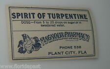 old MAGNOLIA PHARMACY Plant City Florida SPIRIT OF TURPENTINE Container Label