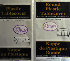 White, Clear or Ivory Washable Plastic Party Table Cover Round or Rectangle