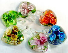 Wholesale 50pcs butterfly flower handmade lampwork glass pendant fashion jewelry