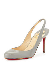 100% AUTHENTIC NEW WOMEN LOUBOUTIN FIFI 85 PATENT GRAY SLING HEELS/PUMPS US 6.5