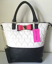 Betsey Johnson Tote Buns Ns Be My Honey Quilted Hearts Tote College Travel Bow