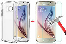 For Galaxy S7 Clear Silicone Gel Case Cover + Tempered Glass Screen Protector