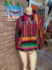 Women's Vintage Ethnic Guatemalan Cotton Woven Zip Front Bomber Lined Jacket M