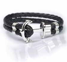 Women Men Multilayer Leather Handmade Cuff Wristband Anchor Bracelet Bangle