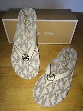 MICHAEL KORS   White  Signature Thong  Flip  Flop Sandals  size 10/40