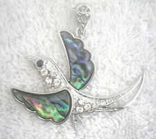 Necklace/Pendant Swallow Abalone Shell new w/ chain & box rhinestone bird