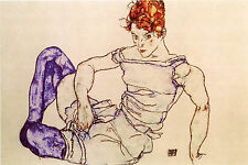 Egon Schiele Reproductions: Seated Woman in Violet Stockings - Fine Art Print