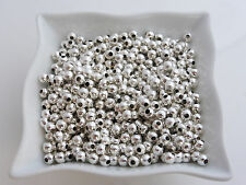 500 x 3mm Silver Plated Smooth Round Spacer Beads Findings             (MBX0069)