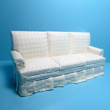 Dollhouse Miniature Living Room Couch / Sofa White Plaid Material ~ T6666