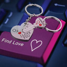 """I Love You"" Heart Arrow Couple Keychain Set Key Ring Keyring Keyfob For Lover"