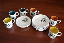 Vintage Susie Cooper Black Fruit 6 small Tea Coffee Cups and  Saucers