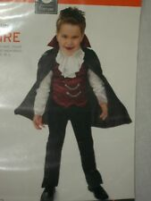 Boys Vampire Black Costume Halloween Party Cape Vest Cravat Size M Medium Child