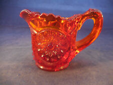 AMBER DEPRESSION GLASS SMALL PITCHER OR TOOTHPICK HOLDER
