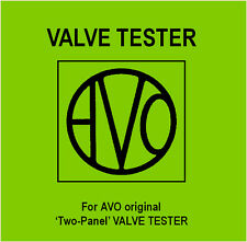 The Avo - Two Panel - Valve Tester Manual - DVD - Tube - Instructions Schematics