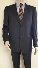 Men's Premium Quality Fancy Stripe Modern Fit Dress Suits All Black New 46R