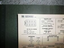 1961 Oldsmobile F85 Series 215 CI V8 SUN Tune Up Chart Sheet Great Shape!